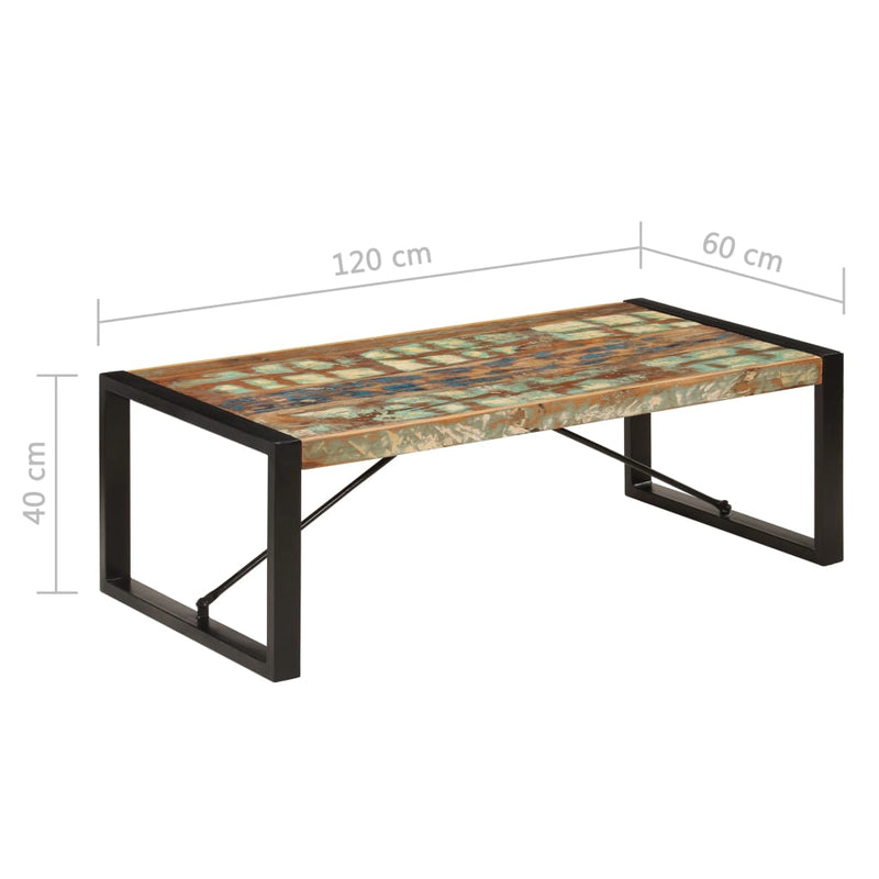 Coffee Table 120x60x40 cm Solid Reclaimed Wood