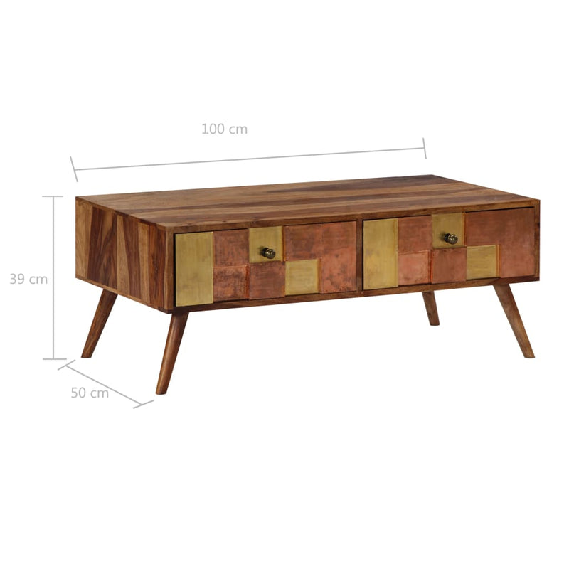 Coffee Table 100x50x39 cm Solid Sheesham Wood