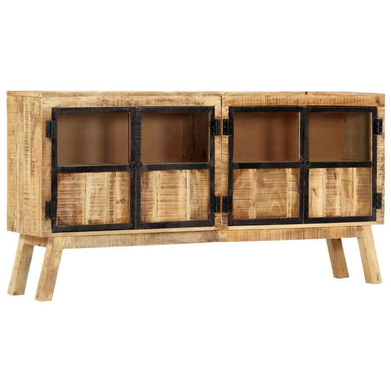 Sideboard Brown and Black 160x30x80 cm Solid Rough Mango Wood
