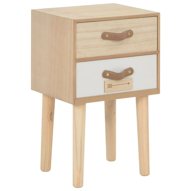 Bedside Cabinet with 2 Drawers 30x25x49.5 cm Solid Pinewood