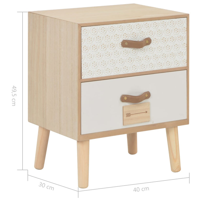 Bedside Cabinet with 2 Drawers 40x30x49.5 cm Solid Pinewood