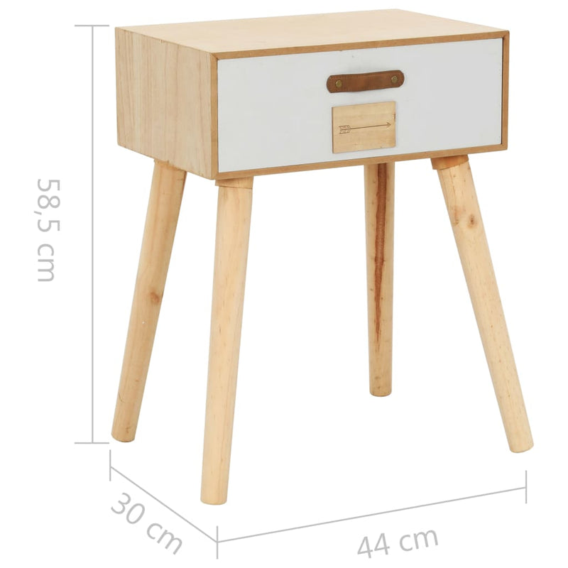 Bedside Table with a Drawer 44x30x58.5 cm Solid Pinewood