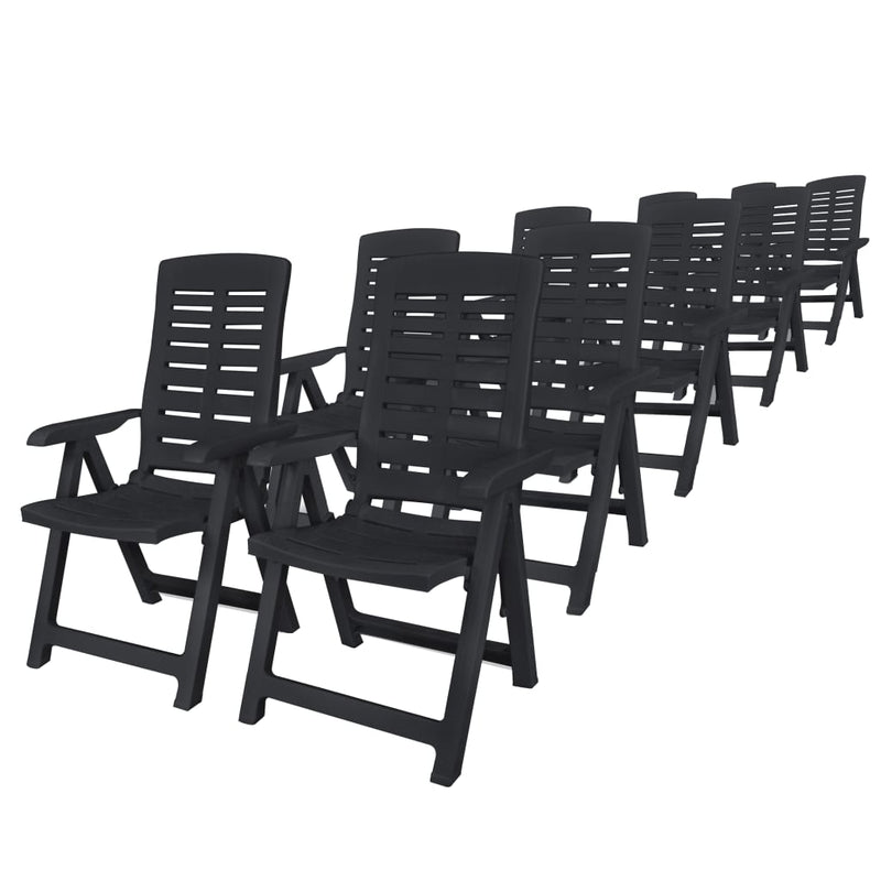 11 Piece Outdoor Dining Set Plastic Anthracite