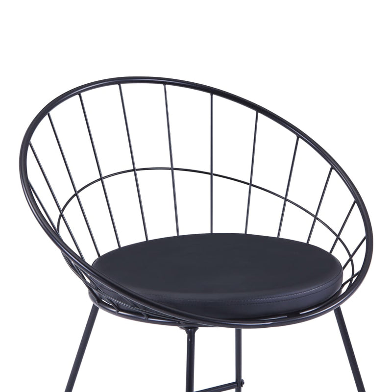 Bar Chairs 2 pcs Black Faux Leather