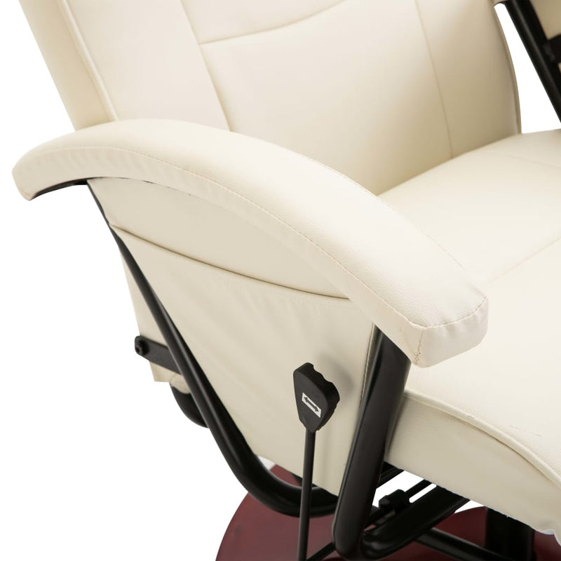 Swivel TV Armchair Cream Faux Leather