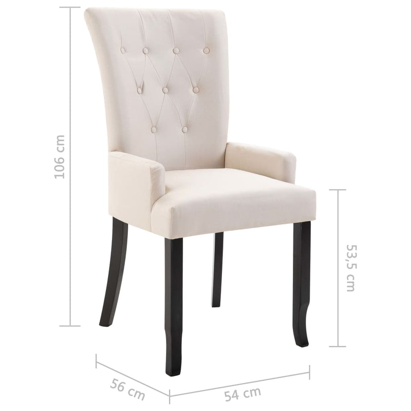 Dining Chair with Armrests Beige Fabric