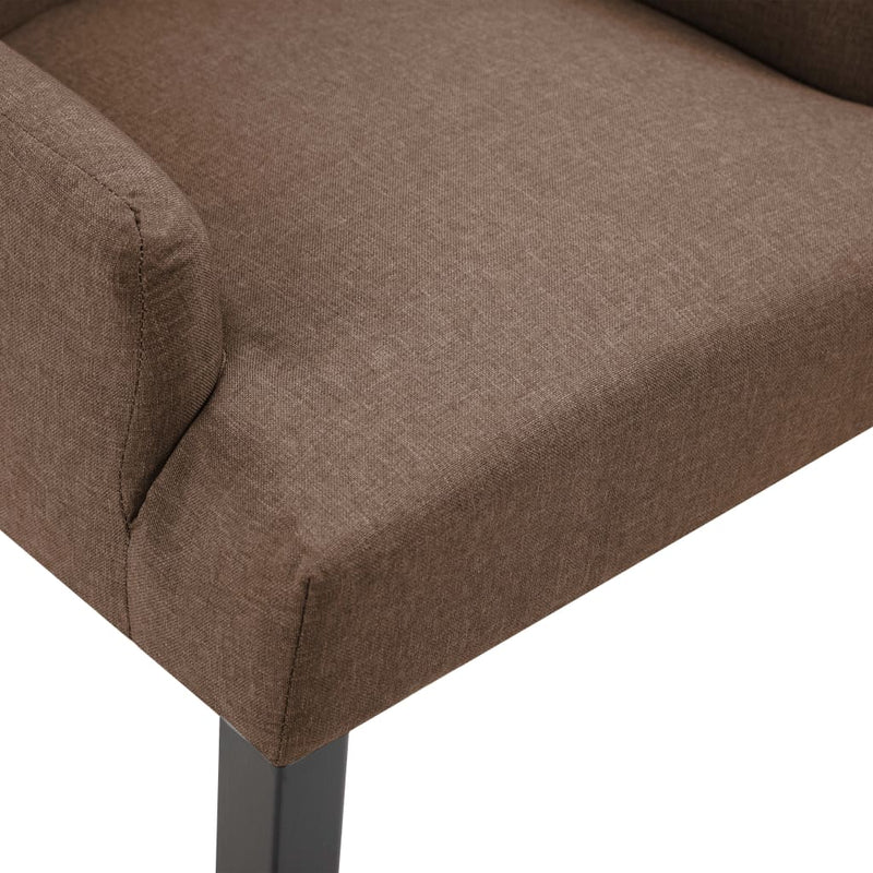 Dining Chair with Armrests Brown Fabric