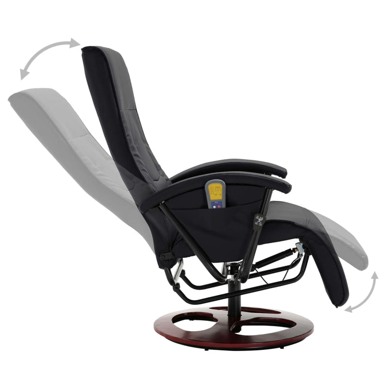 Massage Chair Black Faux Leather