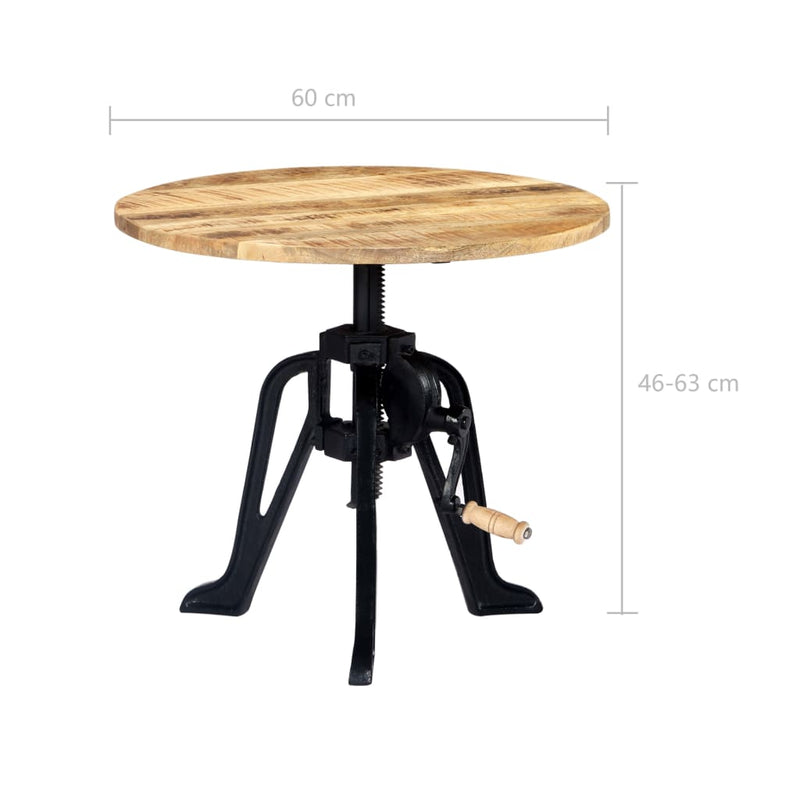 Side Table 60x(46-63) cm Solid Mango Wood and Cast Iron