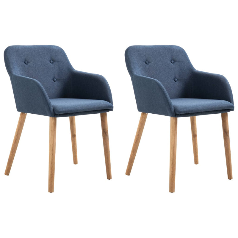 Dining Chairs 2 pcs Blue Fabric and Solid Oak Wood
