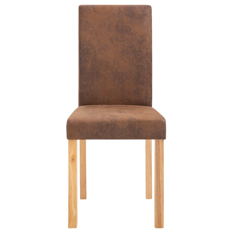Dining Chairs 4 pcs Brown Faux Suede Leather