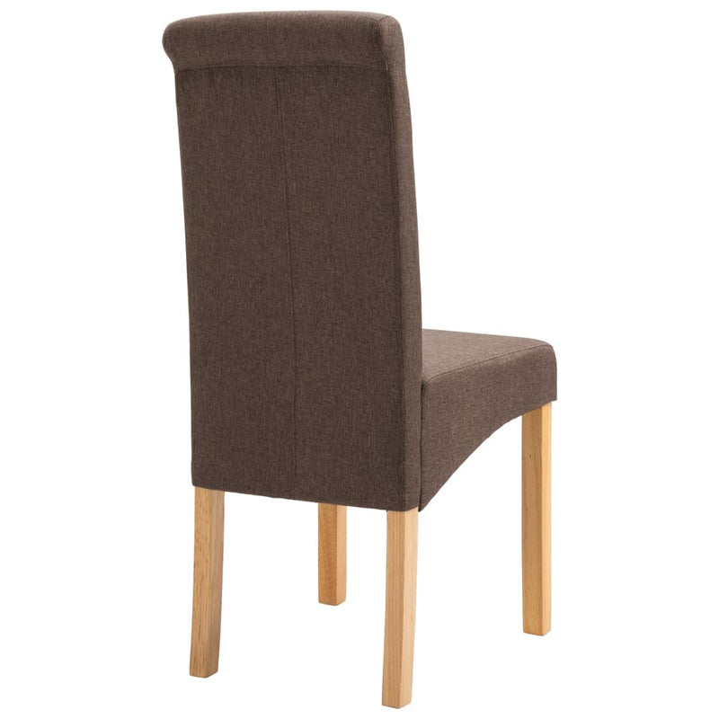 Dining Chairs 4 pcs Brown Fabric