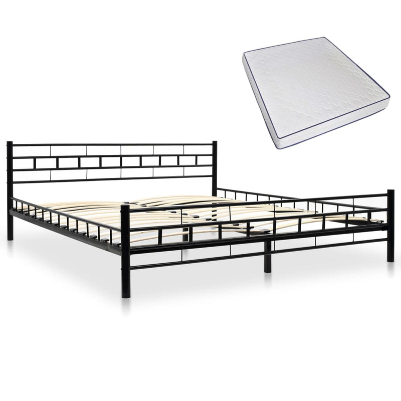 Bed with Memory Foam Mattress Black Metal 183x203 cm King