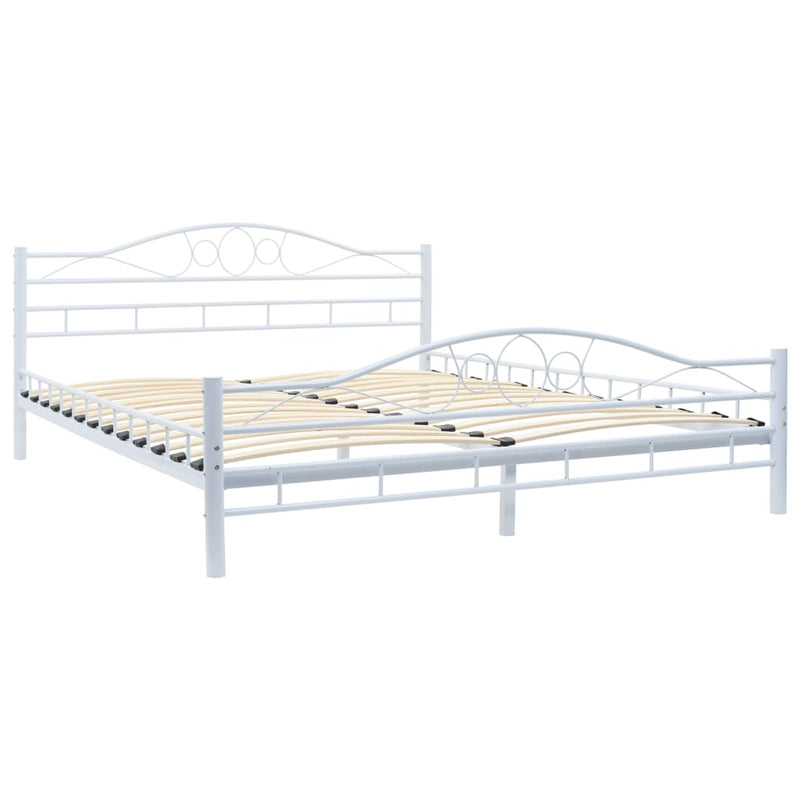 Bed with Memory Foam Mattress White Metal 153x203 cm Queen