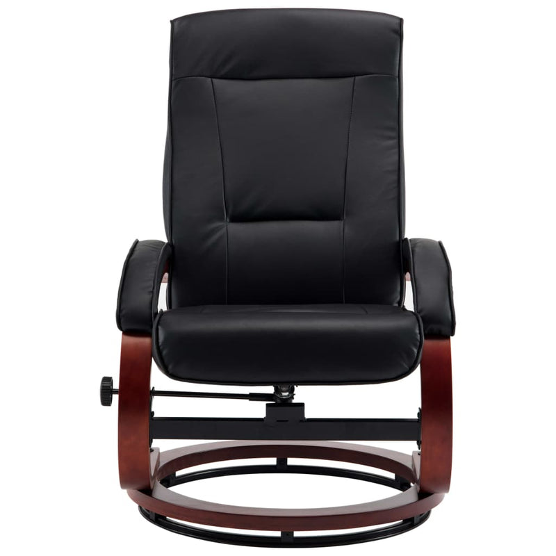 Reclining Chair with Footstool Black Faux Leather
