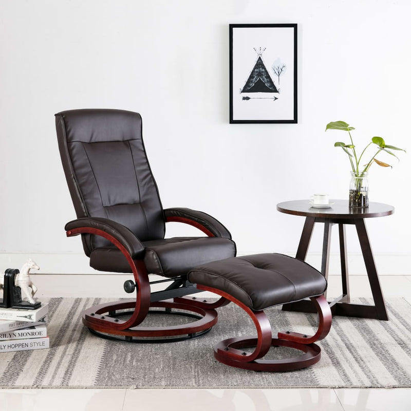 Reclining Chair with Footstool Brown Faux Leather
