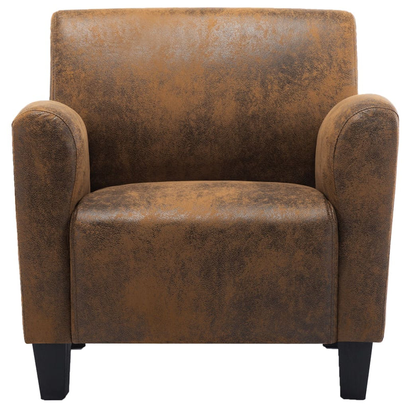 Sofa Chair Brown Faux Suede Leather