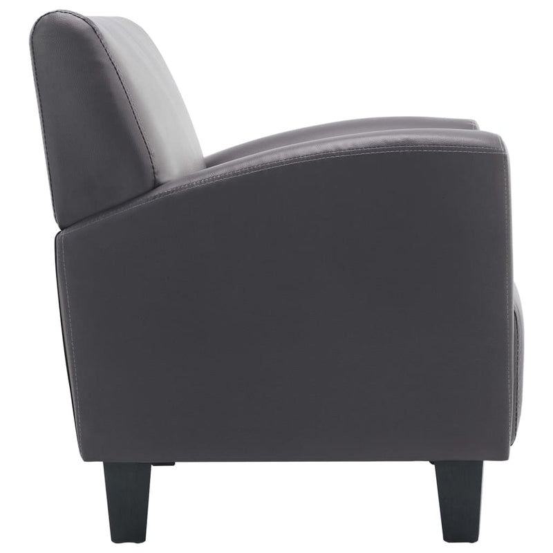 Sofa Chair Grey Faux Leather