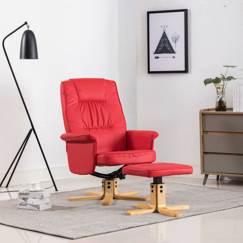 Armchair with Footrest Red Faux Leather