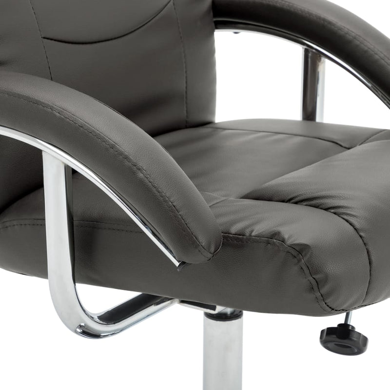 Reclining Chair with Footstool Grey Faux Leather
