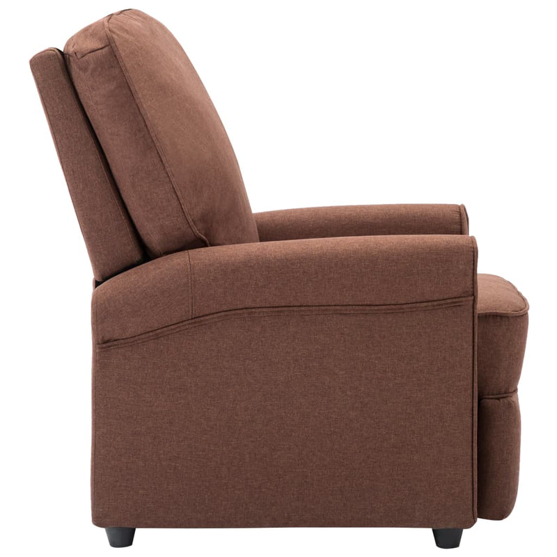 TV Recliner Chair Brown Fabric