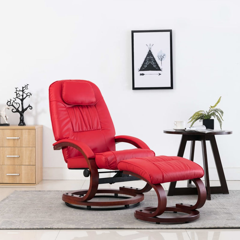Reclining Chair with Footstool Red Faux Leather