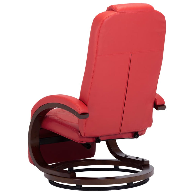 TV Recliner Red Faux Leather