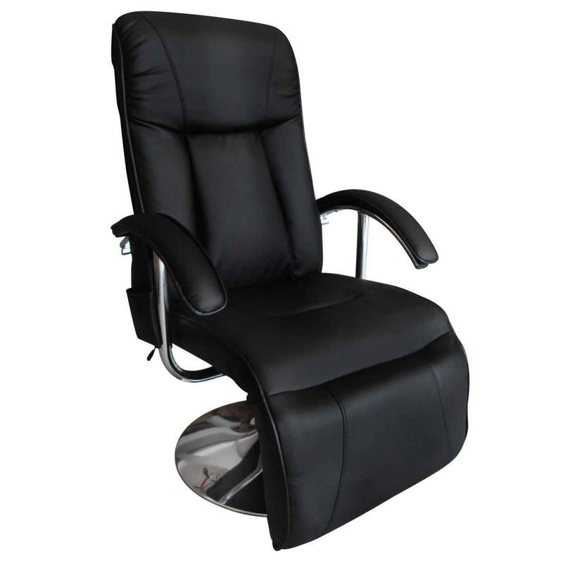 TV Massage Chair Black Faux Leather