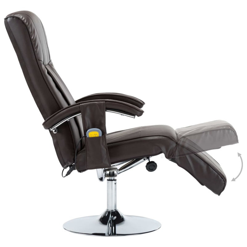Massage Chair Cream Brown Faux Leather