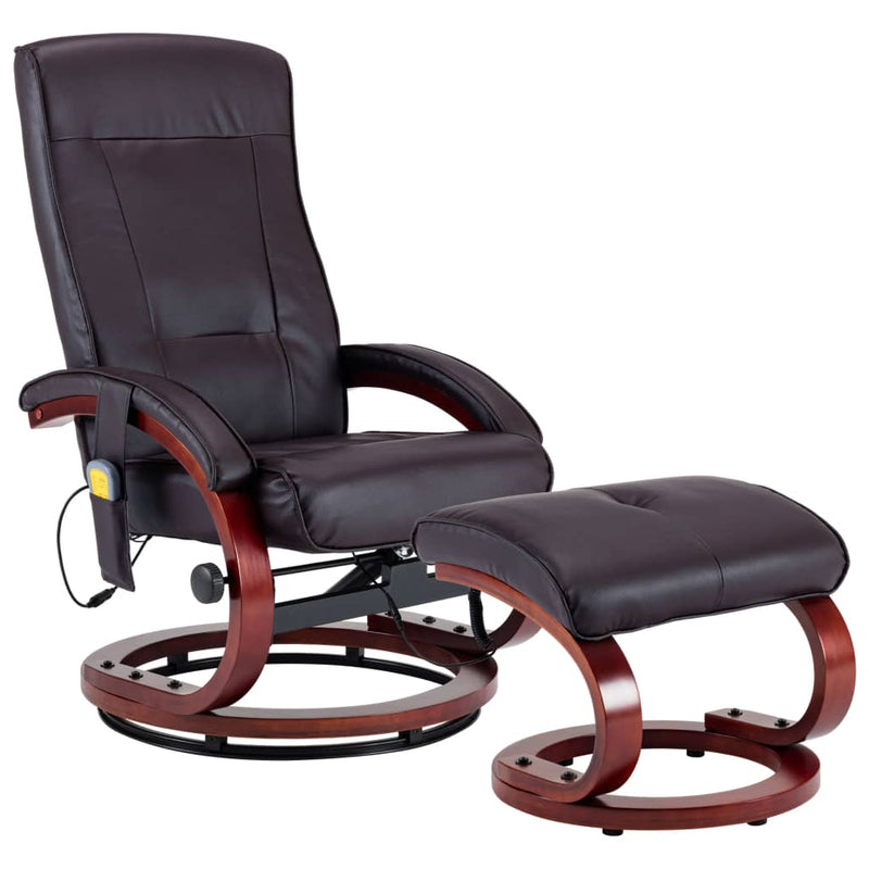 Massage Recliner with Footstool Brown Faux Leather