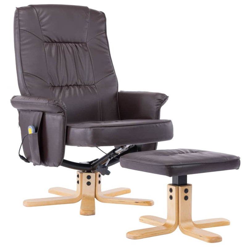 TV Massage Recliner with Footstool Brown Faux Leather