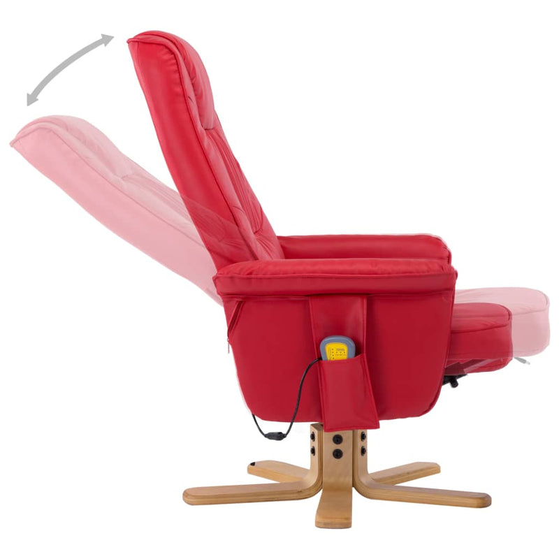 TV Massage Recliner with Footstool Red Faux Leather