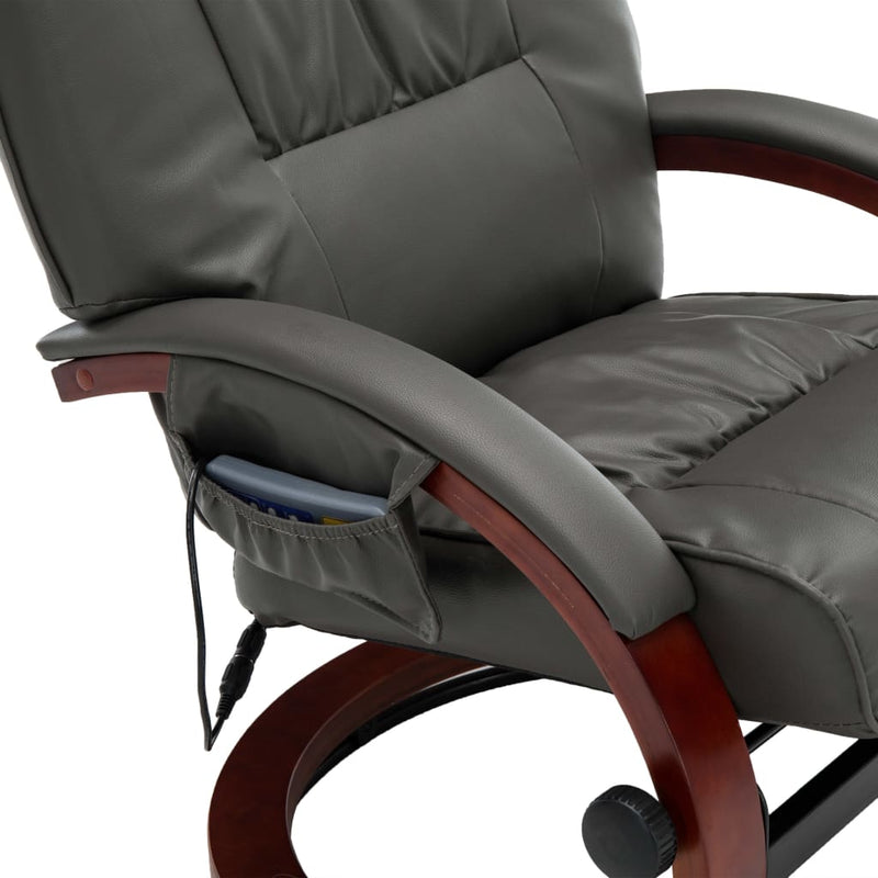 Massage Recliner with Footstool Grey Faux Leather