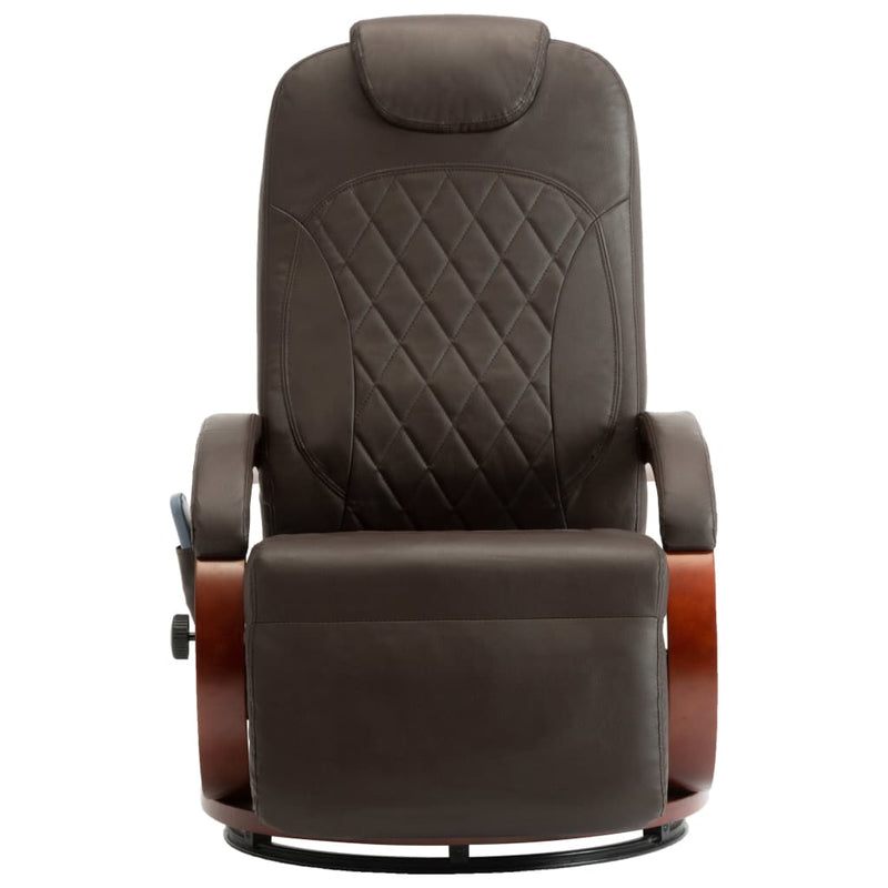 TV Massage Recliner Brown Faux Leather