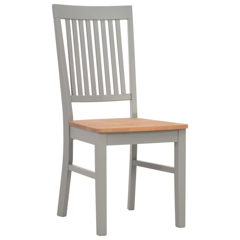 Dining Chairs 6 pcs Grey Solid Oak Wood