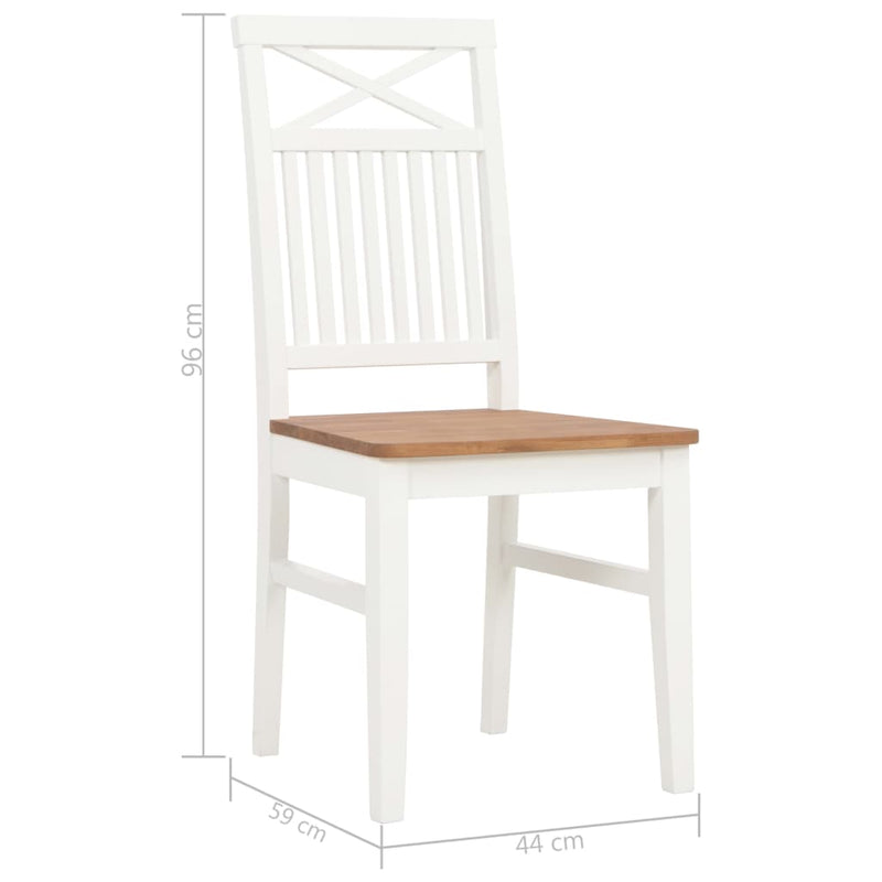 Dining Chairs 4 pcs White Solid Oak Wood