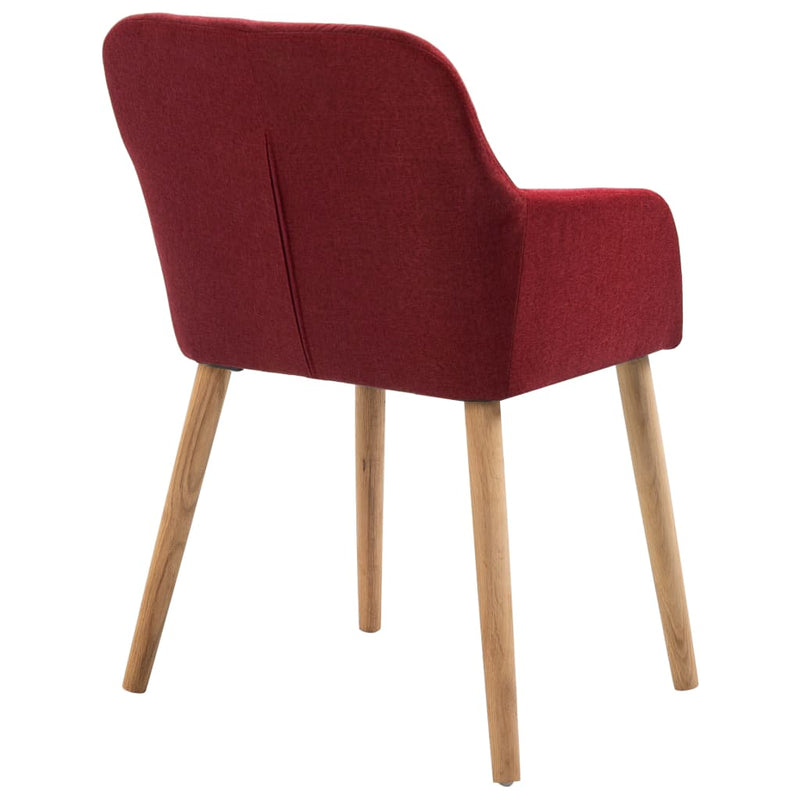 Dining Chairs 4 pcs Wine Red Fabric and Solid Oak Wood