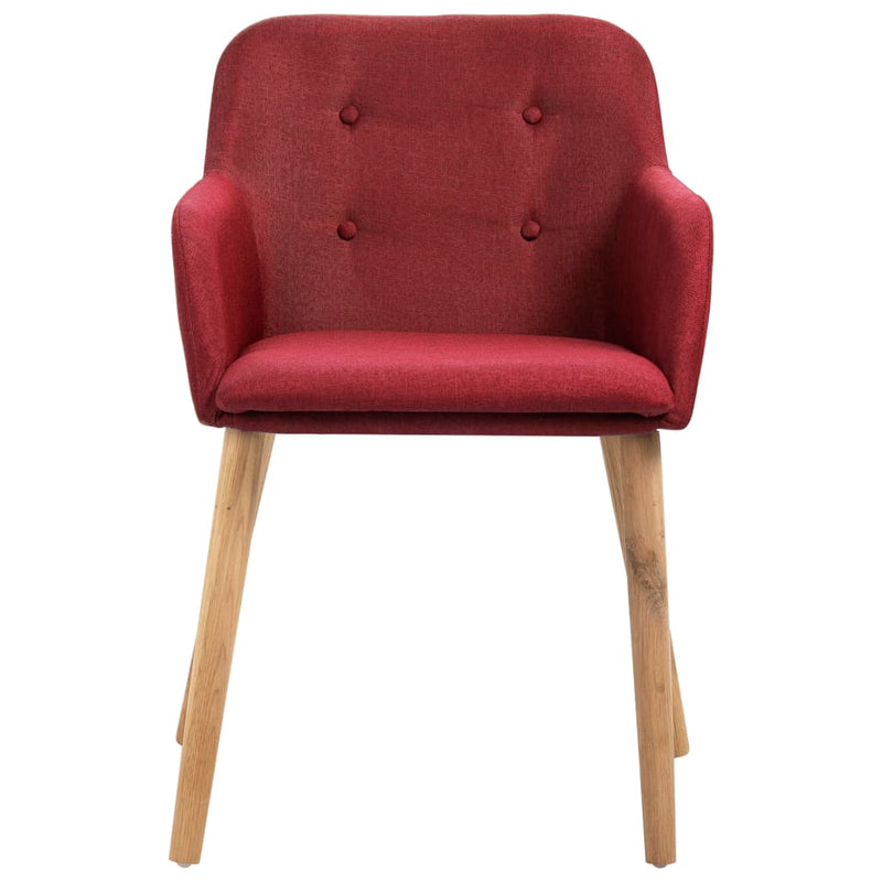 Dining Chairs 6 pcs Wine Red Fabric and Solid Oak Wood