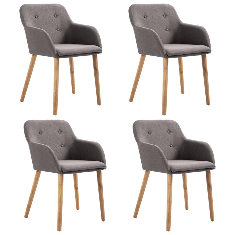 Dining Chairs 4 pcs Taupe Fabric and Solid Oak Wood