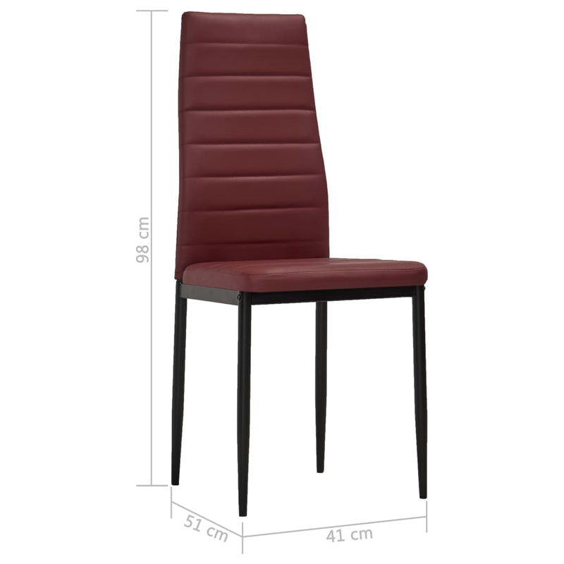Dining Chairs 6 pcs Bordeaux Red Faux Leather