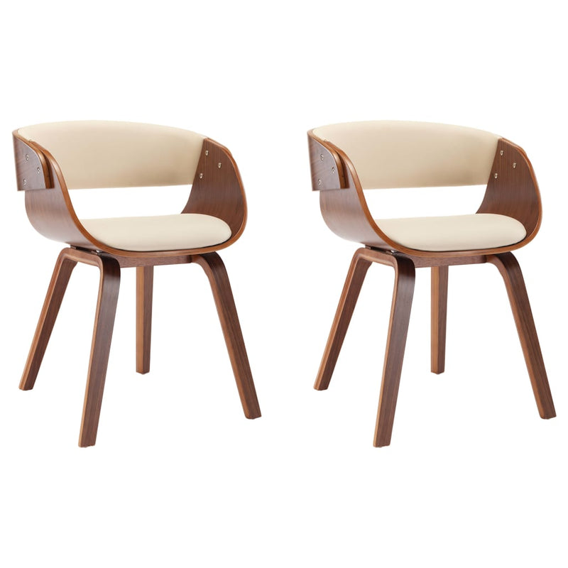 Dining Chairs 2 pcs Cream Bent Wood and Faux Leather