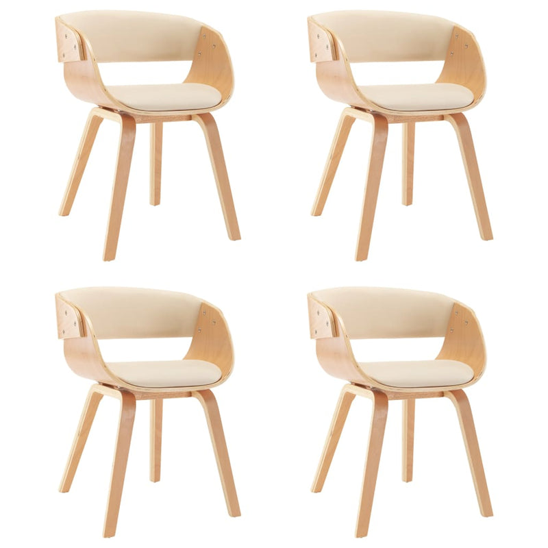 Dining Chairs 4 pcs Cream Bent Wood and Faux Leather