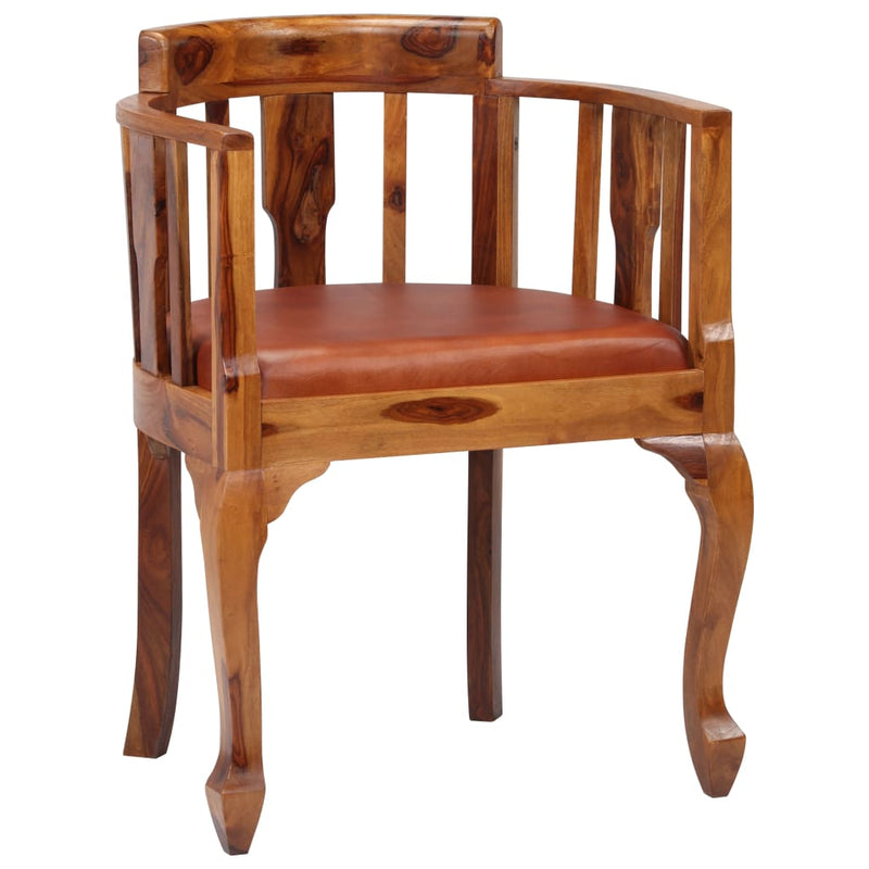 Dining Chairs 4 pcs Real Leather and Solid Sheesham Wood