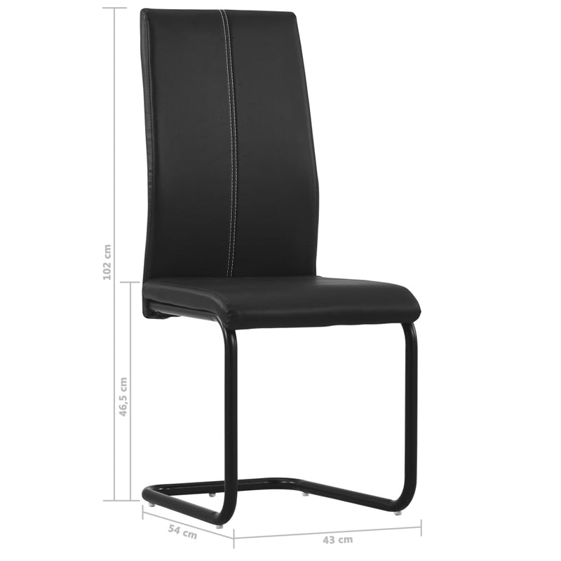 Cantilever Dining Chairs 6 pcs Black Faux Leather