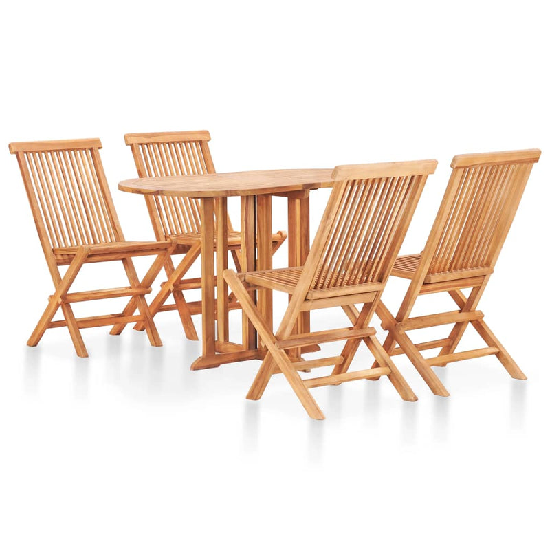 5 Piece Folding Outdoor Dining Set Solid Teak Wood