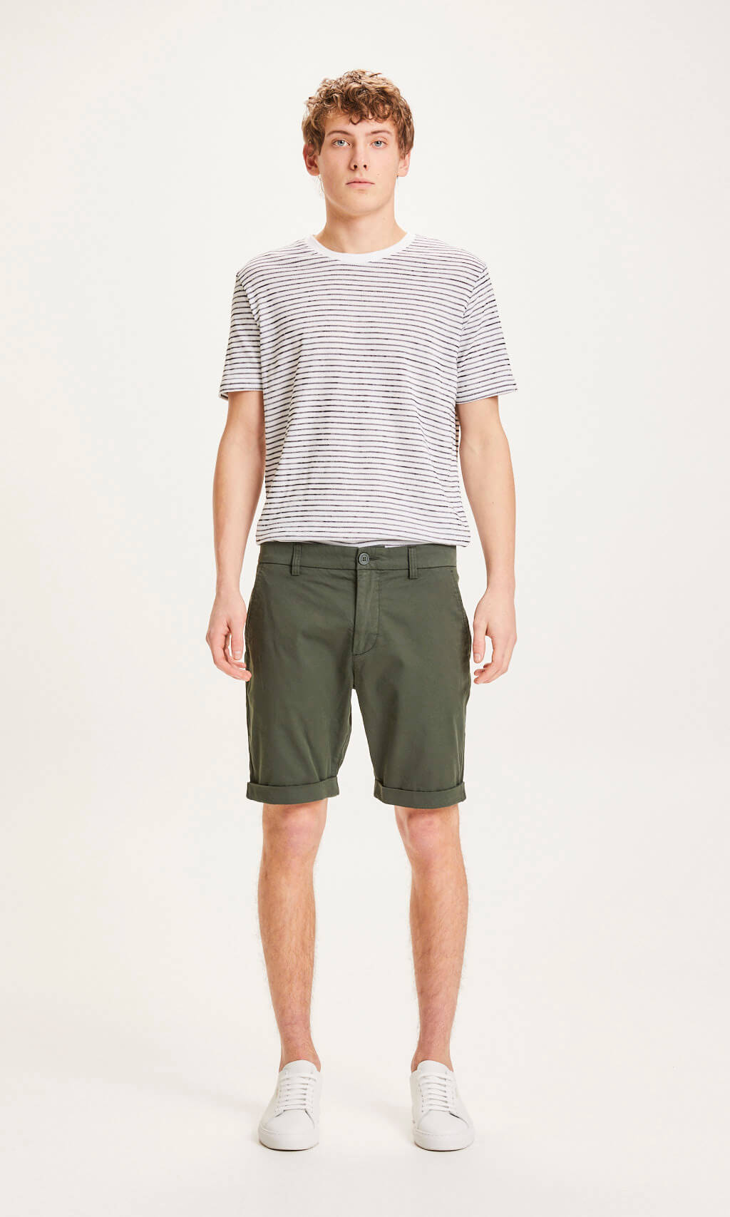 KNOWLEDGE COTTON CHUCK  CHINO SHORTS FORREST NIGHT