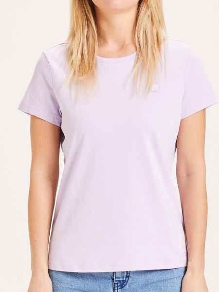 KNOWLEDGE COTTON DAMEN BASIC T-SHIRT PASTEL LILAC VORDERTEIL