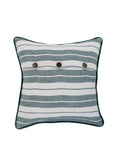 Striped-Cotton Cushion Cover(Green/Cream)