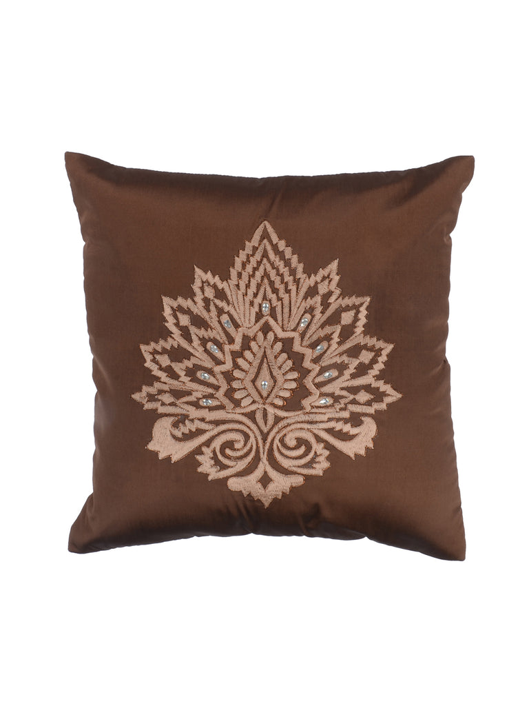 Polyester Embroidered Cushion Cover (Brown)