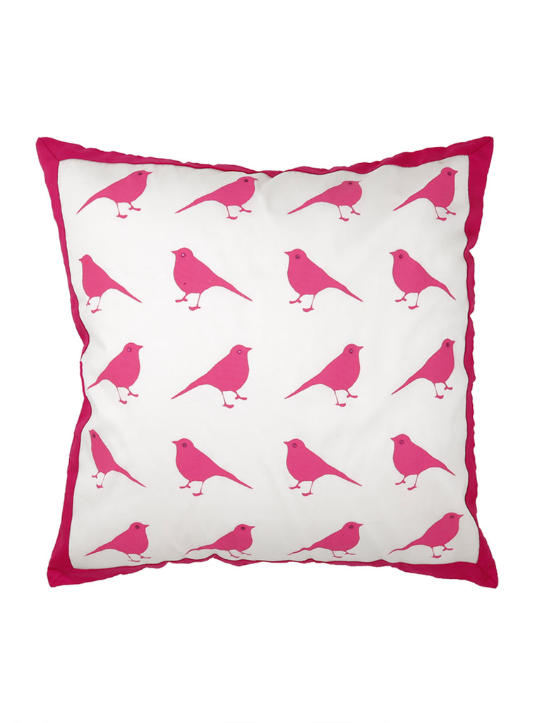 (Cream/Pink)Printed-Polyester Cushion Cover